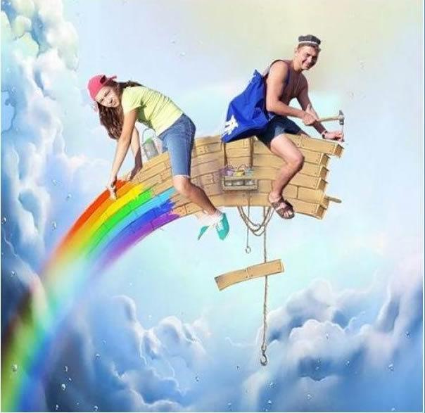 Крещение января, картинка семейной жизни с радугой